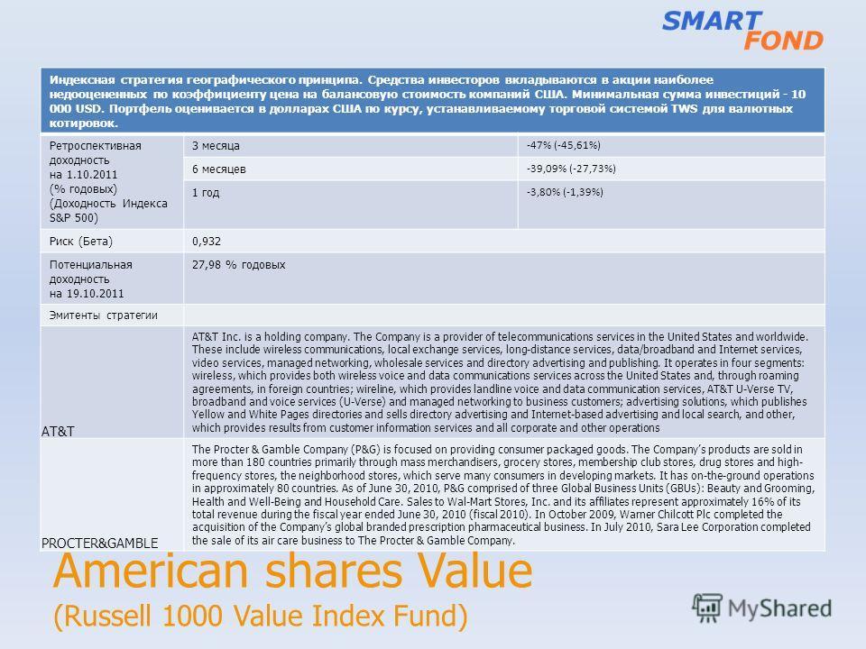 American shares Value (Russell 1000 Value Index Fund) Индексная стратегия географического принципа. Средства инвесторов вкладываются в акции наиболее недооцененных по коэффициенту цена на балансовую стоимость компаний США. Минимальная сумма инвестици