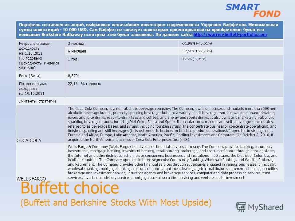 Buffett choice (Buffett and Berkshire Stocks With Most Upside) Портфель составлен из акций, выбранных величайшим инвестором современности Уорреном Баффетом. Минимальная сумма инвестиций - 10 000 USD. Сам Баффет не советует инвесторам ориентирваться н