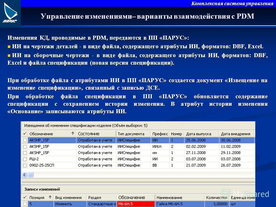Комплексная система управления Управление изменениями– варианты взаимодействия с PDM Изменения КД, проводимые в PDM, передаются в ПП «ПАРУС»: ИИ на чертежи деталей - в виде файла, содержащего атрибуты ИИ, форматов: DBF, Excel. ИИ на чертежи деталей -
