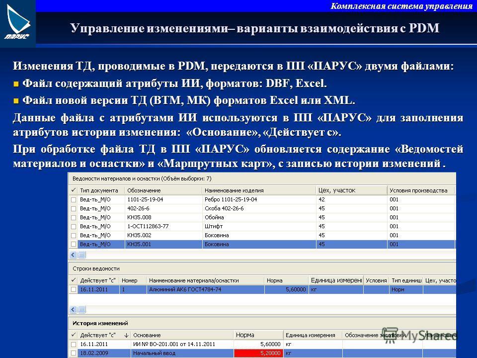 Комплексная система управления Управление изменениями– варианты взаимодействия с PDM Изменения ТД, проводимые в PDM, передаются в ПП «ПАРУС» двумя файлами: Файл содержащий атрибуты ИИ, форматов: DBF, Excel. Файл содержащий атрибуты ИИ, форматов: DBF,
