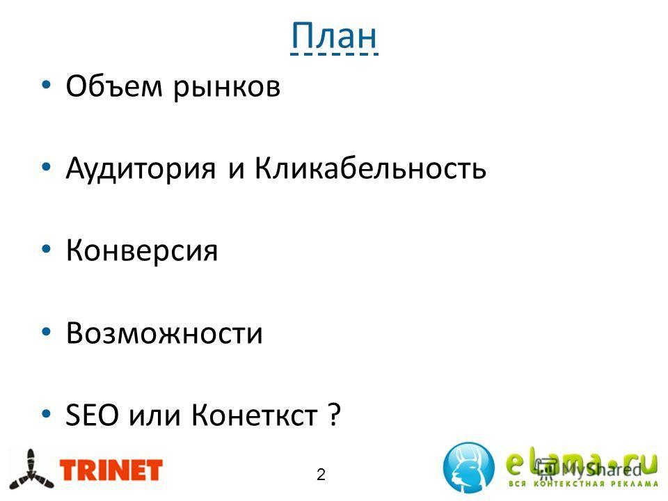 План Объем рынков Аудитория и Кликабельность Конверсия Возможности SEO или Конеткст ? 2