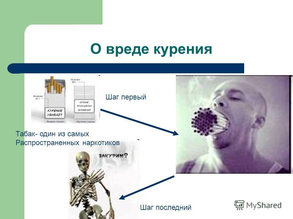 О вреде курения Шаг первый Шаг последний Табак- один из самых Распространенных наркотиков