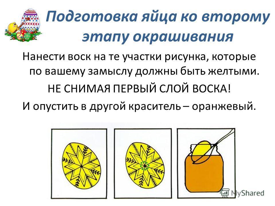 Нанести воск на те участки рисунка, которые по вашему замыслу должны быть желтыми. НЕ СНИМАЯ ПЕРВЫЙ СЛОЙ ВОСКА! И опустить в другой краситель – оранжевый. Подготовка яйца ко второму этапу окрашивания
