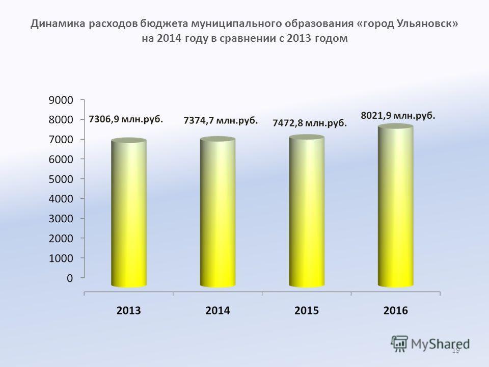 Динамика расходов бюджета муниципального образования «город Ульяновск» на 2014 году в сравнении с 2013 годом 19
