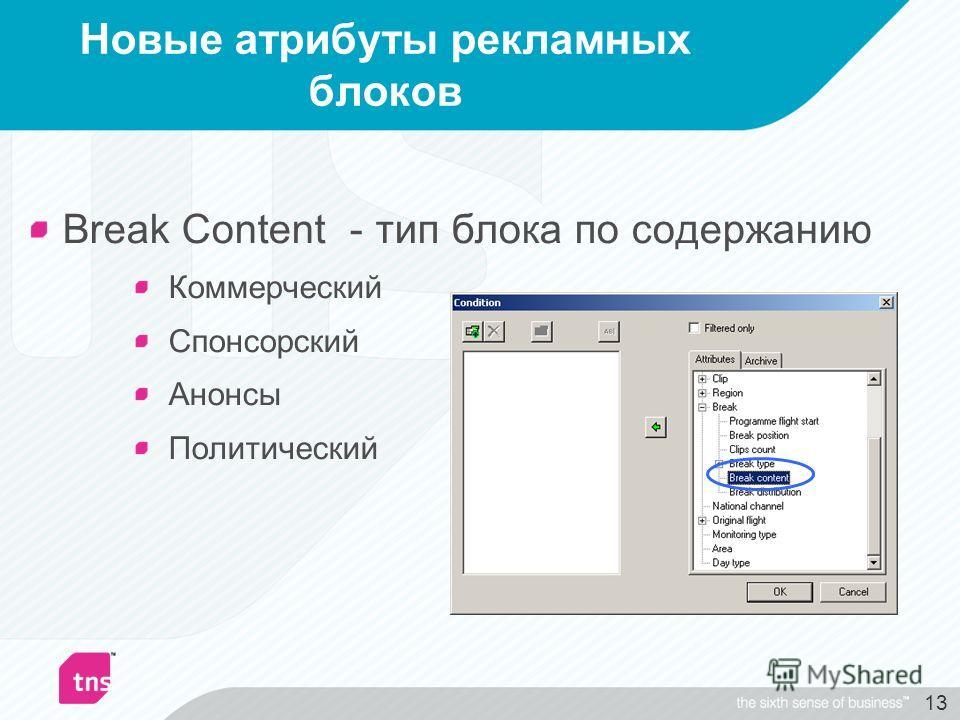 13 Новые атрибуты рекламных блоков Break Content - тип блока по содержанию Коммерческий Спонсорский Анонсы Политический