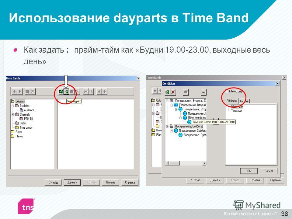 38 Использование dayparts в Time Band Как задать : прайм-тайм как «Будни 19.00-23.00, выходные весь день»