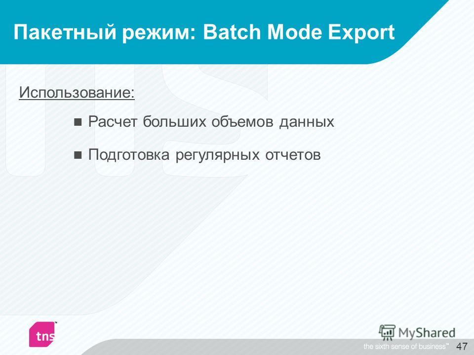 47 Пакетный режим: Batch Mode Export Использование: Расчет больших объемов данных Подготовка регулярных отчетов