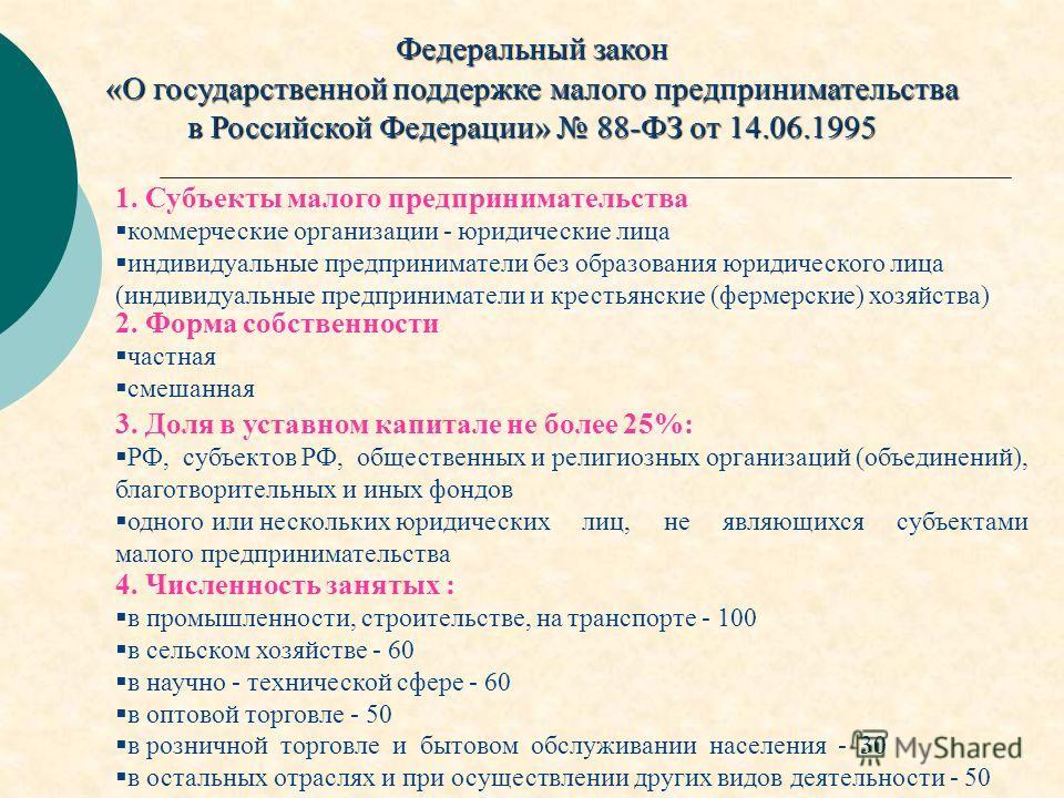 Федеральный закон «О государственной поддержке малого предпринимательства в Российской Федерации» 88-ФЗ от 14.06.1995 1. Субъекты малого предпринимательства коммерческие организации - юридические лица индивидуальные предприниматели без образования юр