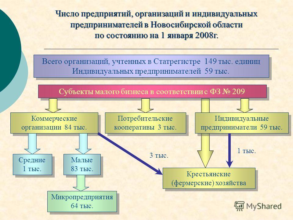 Число предприятий, организаций и индивидуальных предпринимателей в Новосибирской области по состоянию на 1 января 2008г. Всего организаций, учтенных в Статрегистре 149 тыс. единиц Индивидуальных предпринимателей 59 тыс. Субъекты малого бизнеса в соот