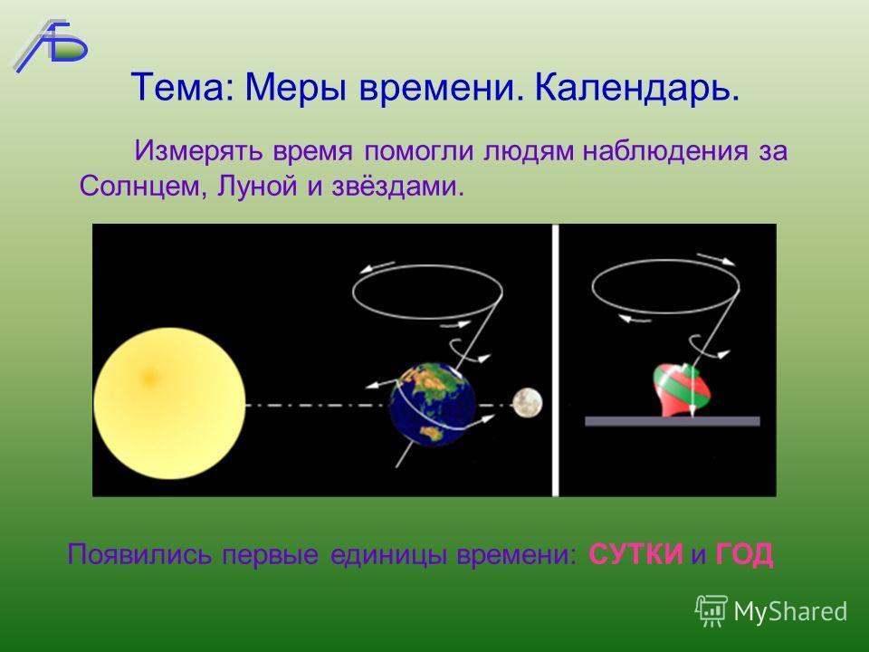 Тема: Меры времени. Календарь. Измерять время помогли людям наблюдения за Солнцем, Луной и звёздами. Появились первые единицы времени: СУТКИ и ГОД