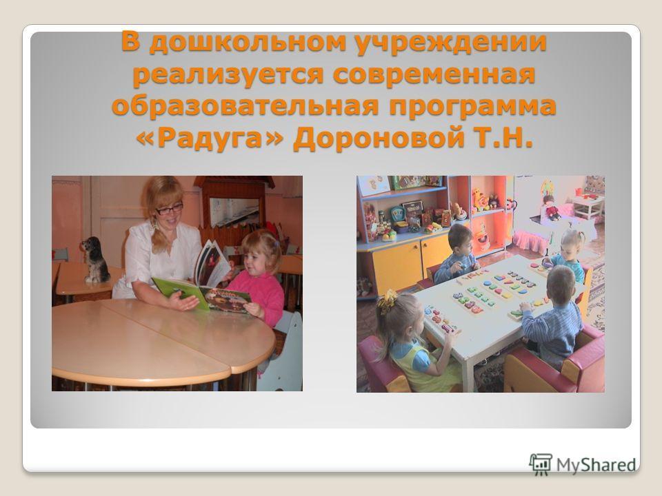 В дошкольном учреждении реализуется современная образовательная программа «Радуга» Дороновой Т.Н.