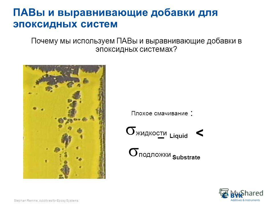 жидкости Liquid < подложки Substrate Плохое смачивание : Почему мы используем ПАВы и выравнивающие добавки в эпоксидных системах? ПАВы и выравнивающие добавки для эпоксидных систем Stephan Remme, Additives for Epoxy Systems