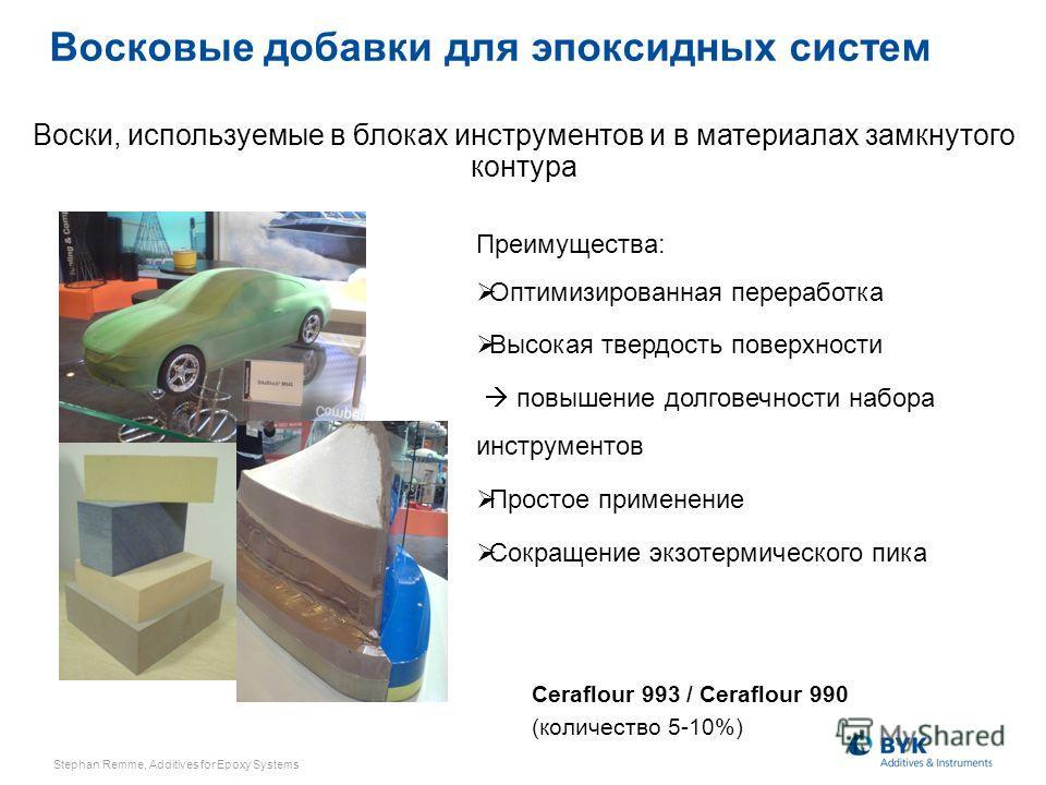 Ceraflour 993 / Ceraflour 990 (количество 5-10%) Воски, используемые в блоках инструментов и в материалах замкнутого контура Преимущества: Оптимизированная переработка Высокая твердость поверхности повышение долговечности набора инструментов Простое