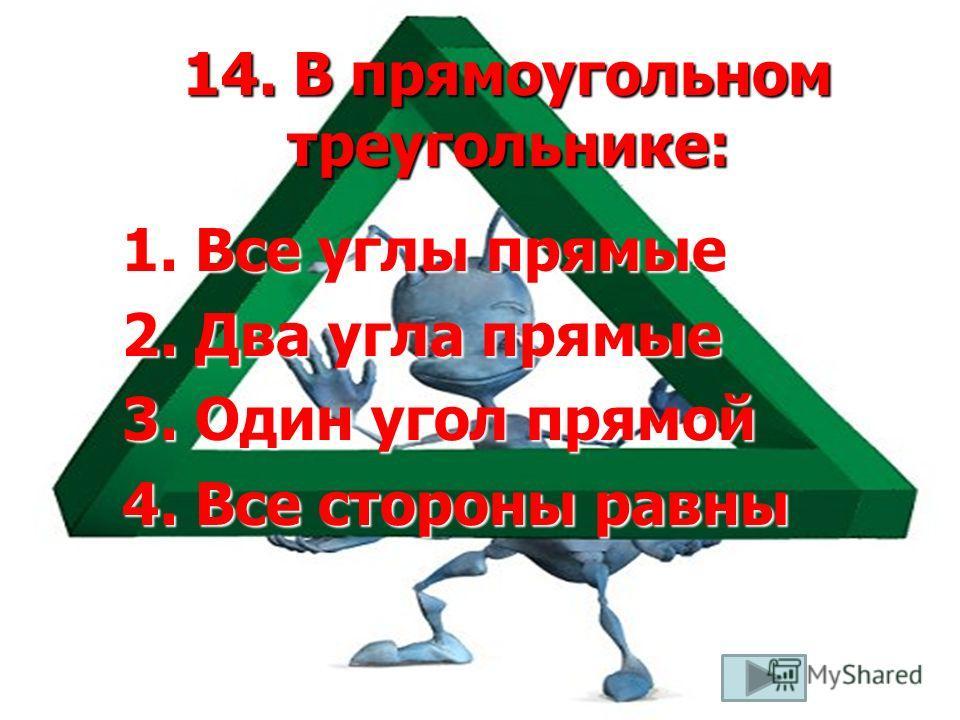 14. В прямоугольном треугольнике: 1. Все углы прямые 2. Два угла прямые 3. Один угол прямой 4. Все стороны равны