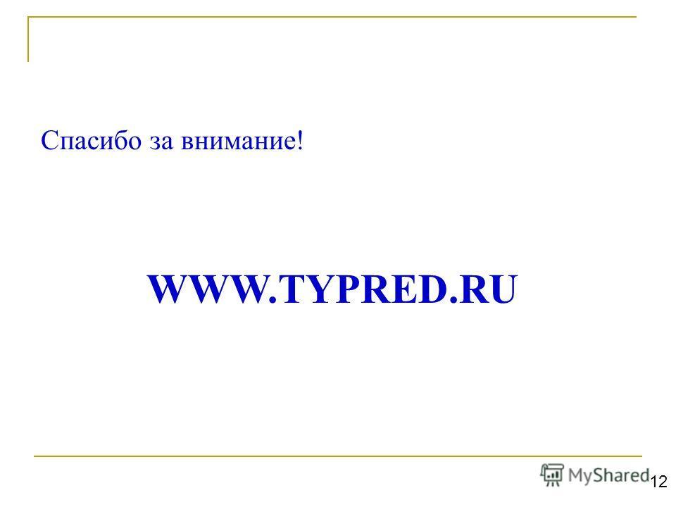Спасибо за внимание! WWW.TYPRED.RU 12