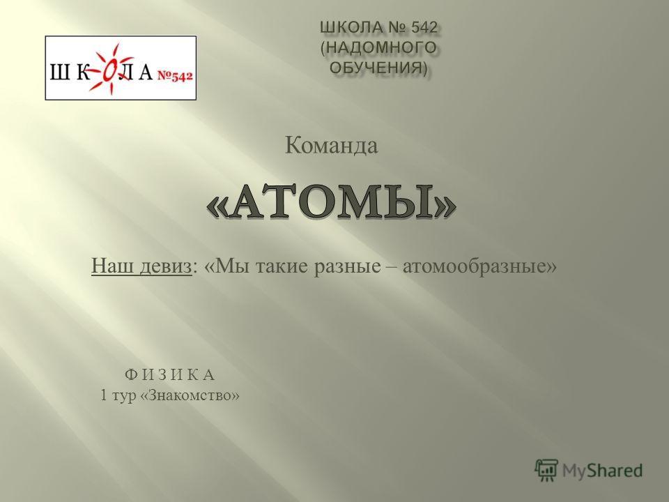 Наш девиз: «Мы такие разные – атомообразные» Ф И З И К А 1 тур «Знакомство»