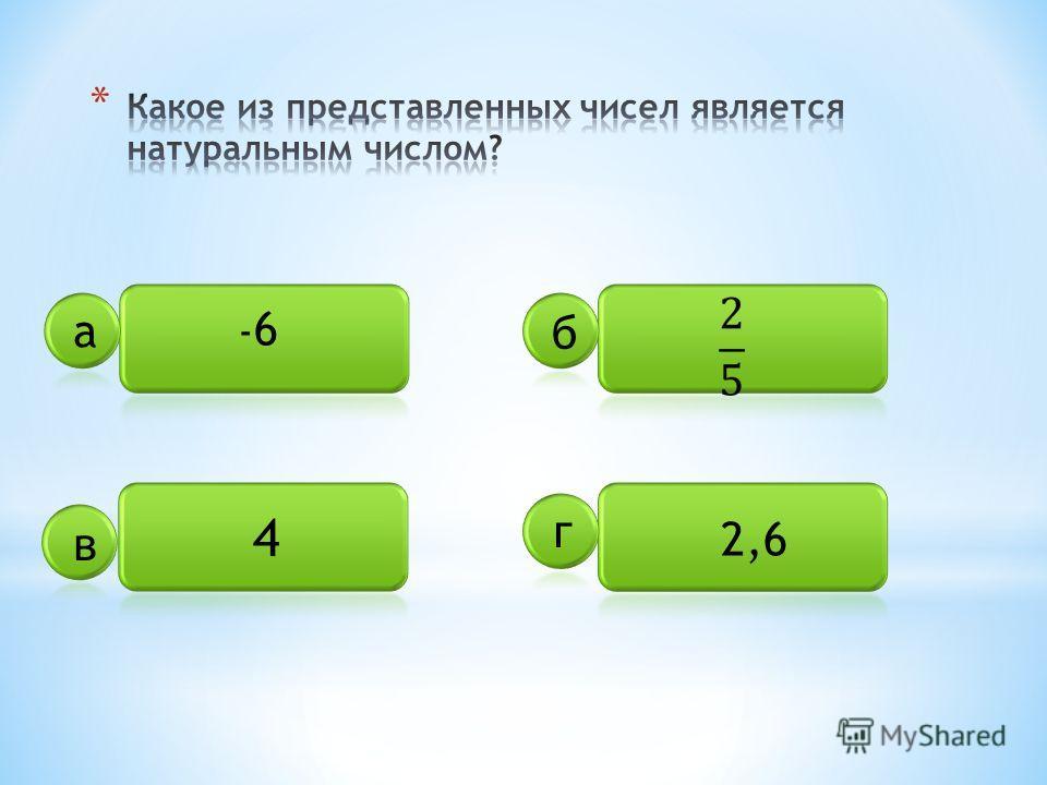 -6-6 4 2,6 а б в г