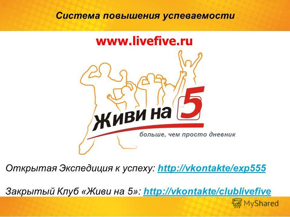 Открытая Экспедиция к успеху: http://vkontakte/exp555http://vkontakte/exp555 Закрытый Клуб «Живи на 5»: http://vkontakte/clublivefivehttp://vkontakte/clublivefive больше, чем просто дневник Система повышения успеваемости www.livefive.ru