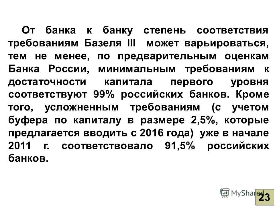 23 От банка к банку степень соответствия требованиям Базеля III может варьироваться, тем не менее, по предварительным оценкам Банка России, минимальным требованиям к достаточности капитала первого уровня соответствуют 99% российских банков. Кроме тог