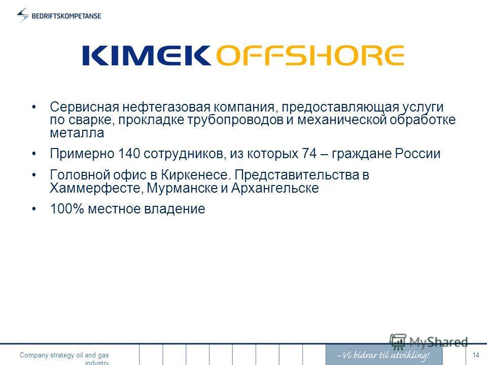 Company strategy oil and gas industry 14 Сервисная нефтегазовая компания, предоставляющая услуги по сварке, прокладке трубопроводов и механической обработке металла Примерно 140 сотрудников, из которых 74 – граждане России Головной офис в Киркенесе.