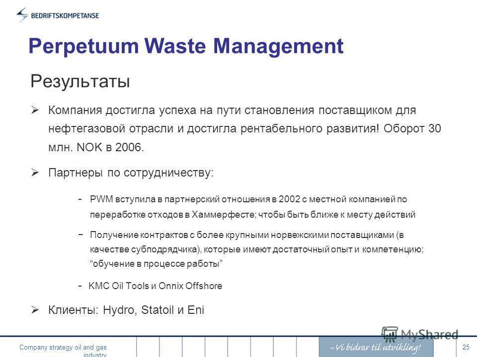 Company strategy oil and gas industry 25 Perpetuum Waste Management Результаты Компания достигла успеха на пути становления поставщиком для нефтегазовой отрасли и достигла рентабельного развития! Оборот 30 млн. NOK в 2006. Партнеры по сотрудничеству: