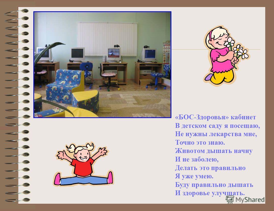 «БОС-Здоровья» кабинет В детском саду я посещаю, Не нужны лекарства мне, Точно это знаю. Животом дышать начну И не заболею, Делать это правильно Я уже умею. Буду правильно дышать И здоровье улучшать.