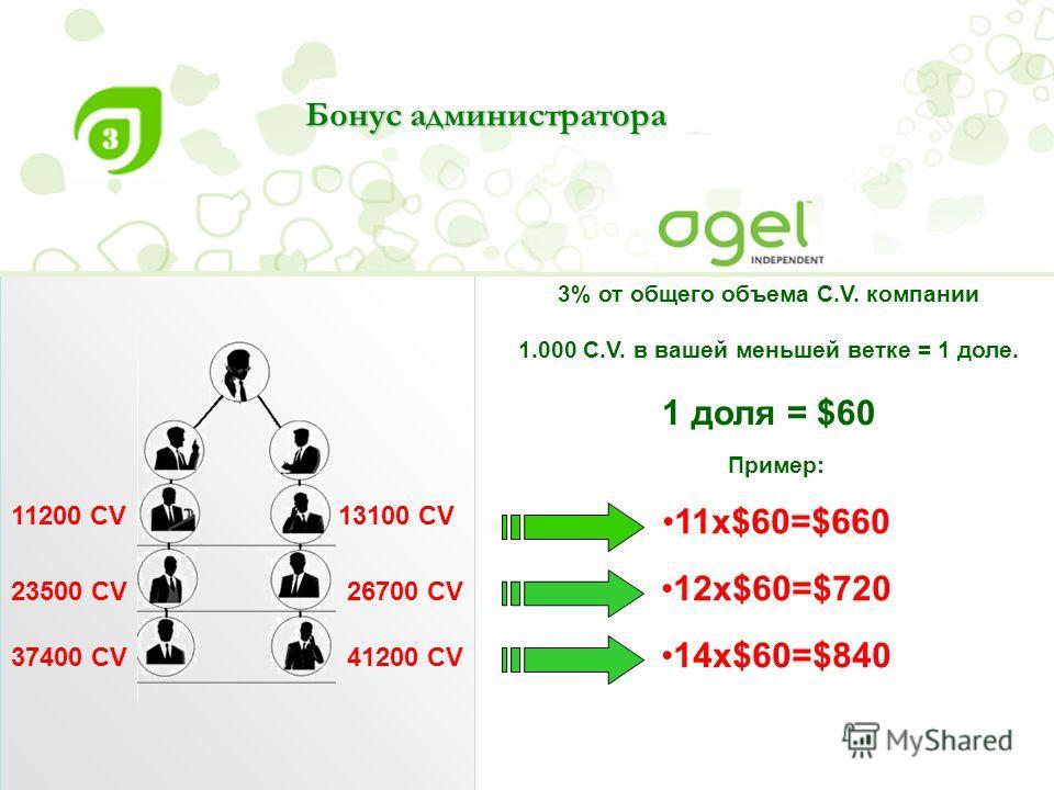 3% от общего объема C.V. компании 1.000 C.V. в вашей меньшей ветке = 1 доле. 1 доля = $60 Пример: 11х$60=$660 12х$60=$720 14х$60=$840 Бонус администратора 11200 CV 23500 CV26700 CV 37400 CV41200 CV 13100 CV