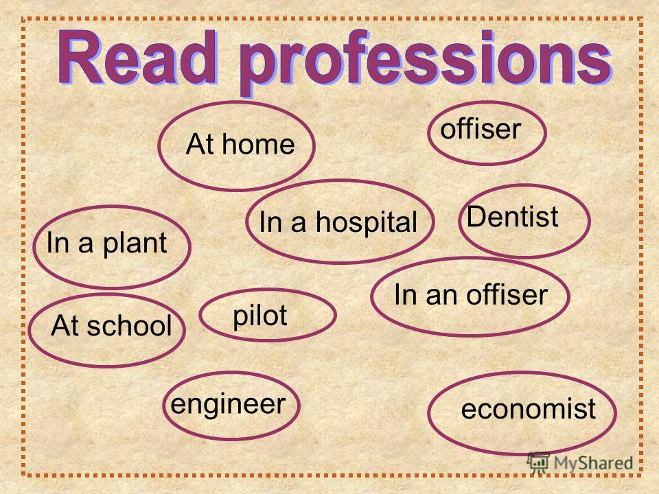 Dentist In a plant At school In a hospital engineer pilot offiser In an offiser At home economist