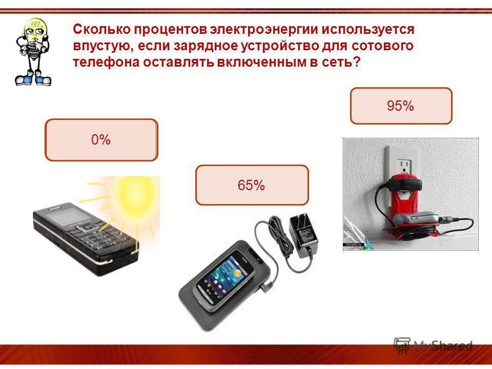 ОЙ! Сколько процентов электроэнергии используется впустую, если зарядное устройство для сотового телефона оставлять включенным в сеть? 65% 0% 95%