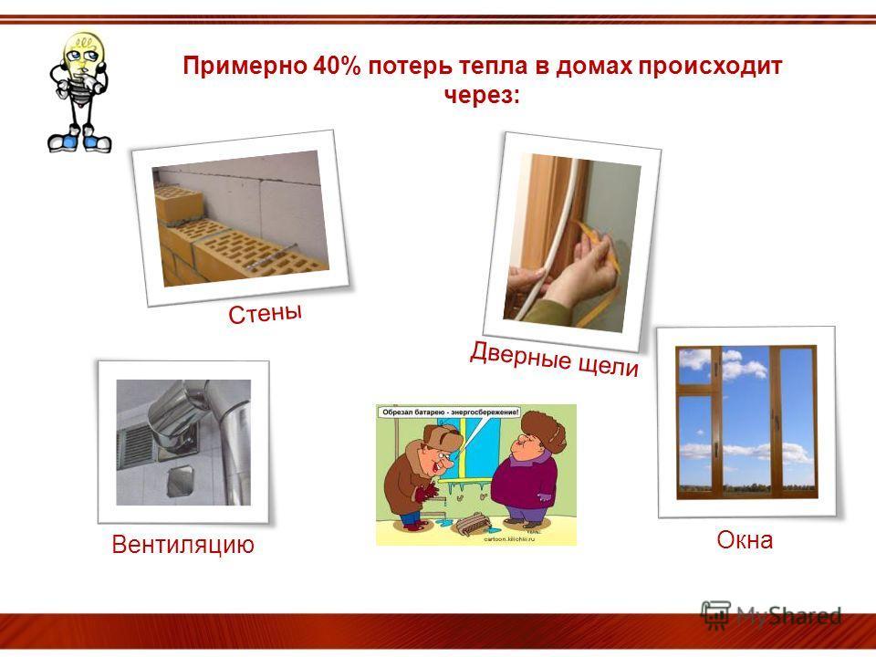 ОЙ! Примерно 40% потерь тепла в домах происходит через: Дверные щели Стены Окна ОЙ! Вентиляцию
