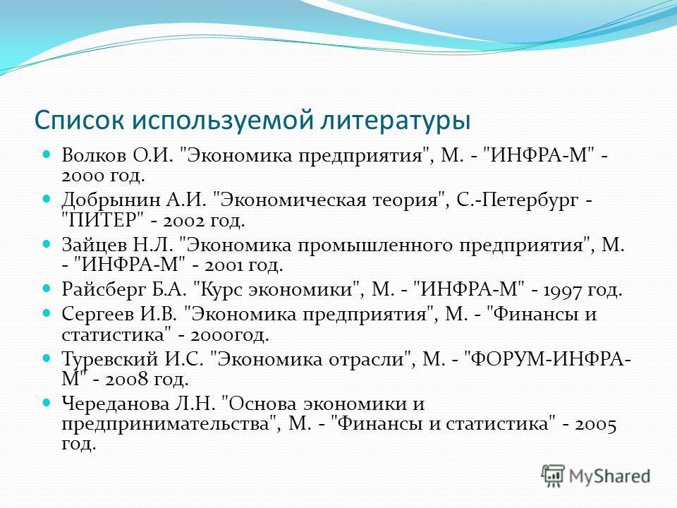 Список используемой литературы Волков О.И.