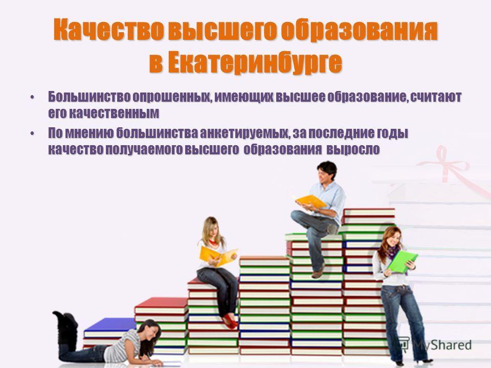Качество высшего образования в Екатеринбурге Большинство опрошенных, имеющих высшее образование, считают его качественным Большинство опрошенных, имеющих высшее образование, считают его качественным По мнению большинства анкетируемых, за последние го