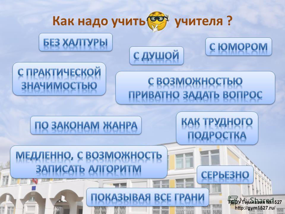 ГБОУ Гимназия 1527 http://gym1527.ru/ Как надо учить учителя ?