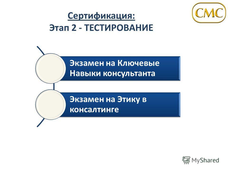 Сертификация: Этап 2 - ТЕСТИРОВАНИЕ Экзамен на Ключевые Навыки консультанта Экзамен на Этику в консалтинге