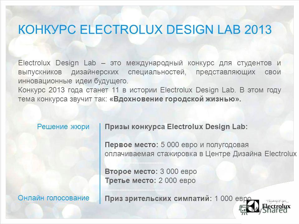 КОНКУРС ELECTROLUX DESIGN LAB 2013 Electrolux Design Lab – это международный конкурс для студентов и выпускников дизайнерских специальностей, представляющих свои инновационные идеи будущего. Конкурс 2013 года станет 11 в истории Electrolux Design Lab