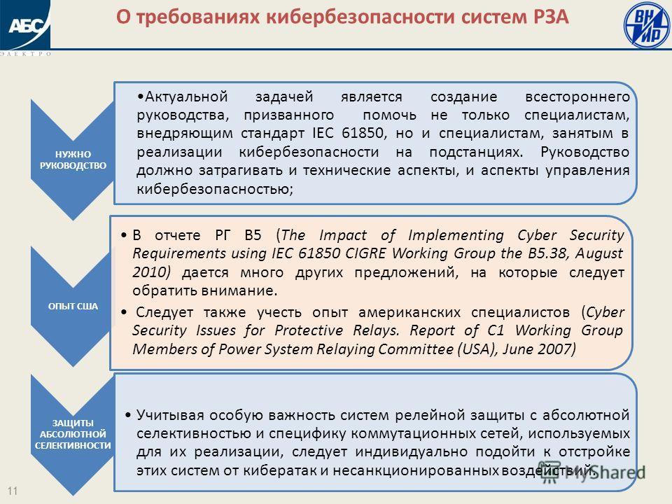 НУЖНО РУКОВОДСТВО Актуальной задачей является создание всестороннего руководства, призванного помочь не только специалистам, внедряющим стандарт IEC 61850, но и специалистам, занятым в реализации кибербезопасности на подстанциях. Руководство должно з