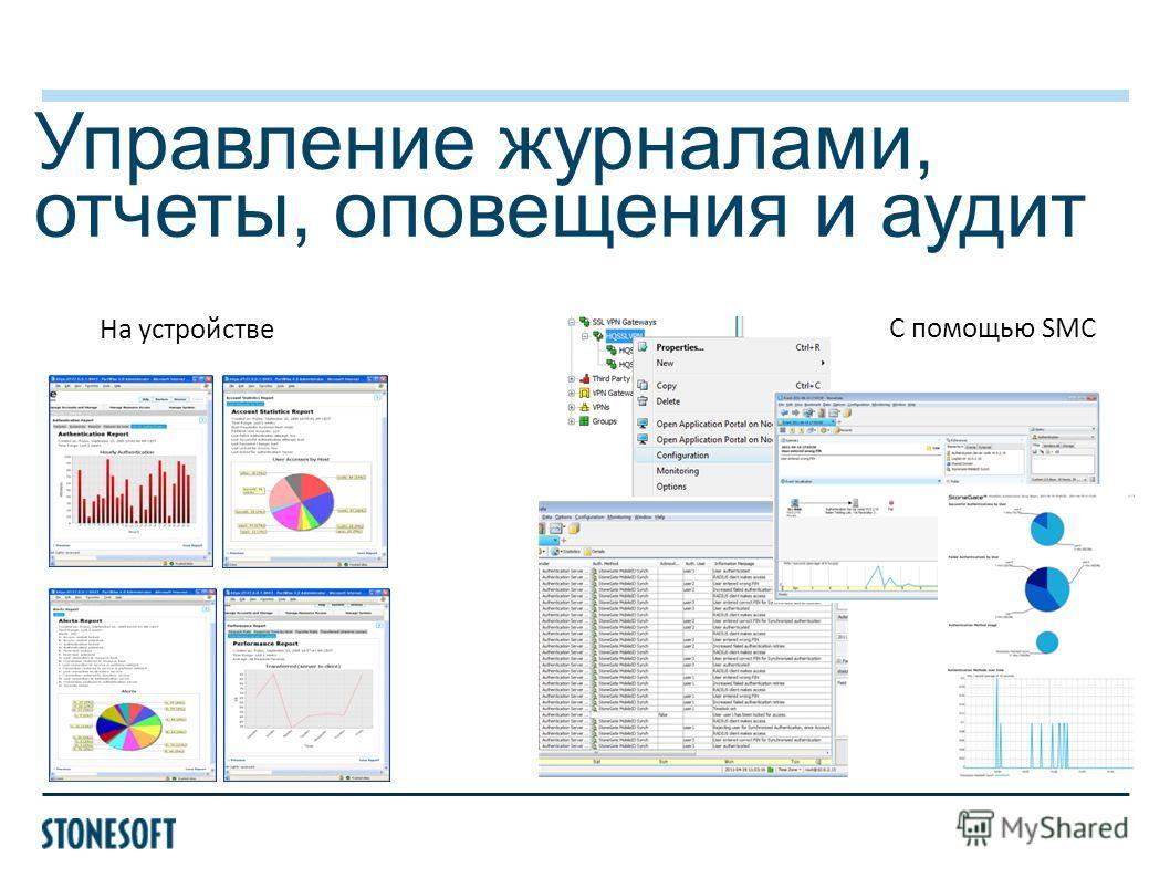 Управление журналами, отчеты, оповещения и аудит С помощью SMC На устройстве
