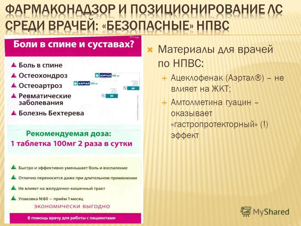 Материалы для врачей по НПВС: Ацеклофенак (Аэртал®) – не влияет на ЖКТ; Амтолметина гуацин – оказывает «гастропротекторный» (!) эффект
