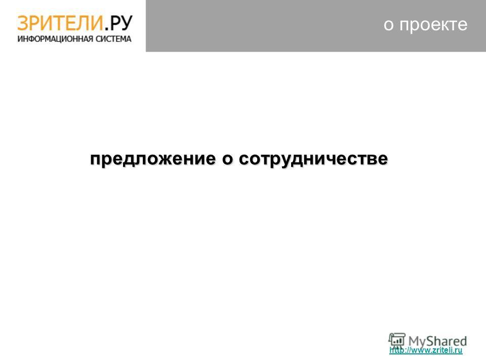 о проекте предложение о сотрудничестве предложение о сотрудничестве http://www.zriteli.ru