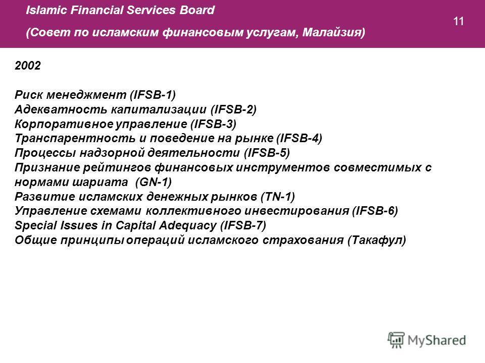 11 2002 Риск менеджмент (IFSB-1) Адекватность капитализации (IFSB-2) Корпоративное управление (IFSB-3) Транспарентность и поведение на рынке (IFSB-4) Процессы надзорной деятельности (IFSB-5) Признание рейтингов финансовых инструментов совместимых с н