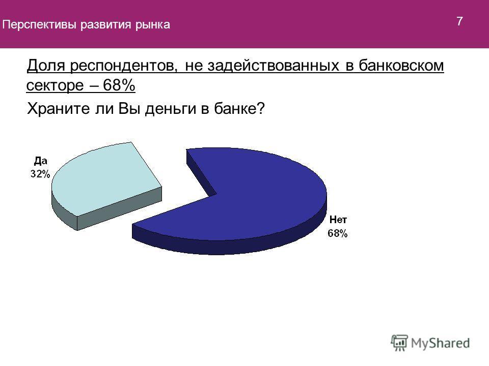 Доля респондентов, не задействованных в банковском секторе – 68% Храните ли Вы деньги в банке? Перспективы развития рынка 7
