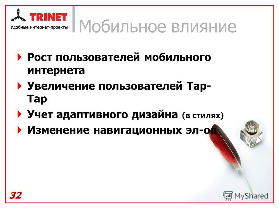 Мобильное влияние Рост пользователей мобильного интернета Увеличение пользователей Tap- Tap Учет адаптивного дизайна (в стилях) Изменение навигационных эл-ов 32