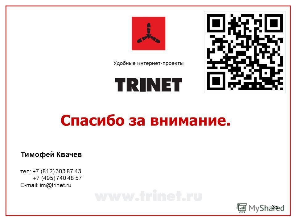 35 Спасибо за внимание. Тимофей Квачев тел: +7 (812) 303 87 43 +7 (495) 740 48 57 E-mail: im@trinet.ru