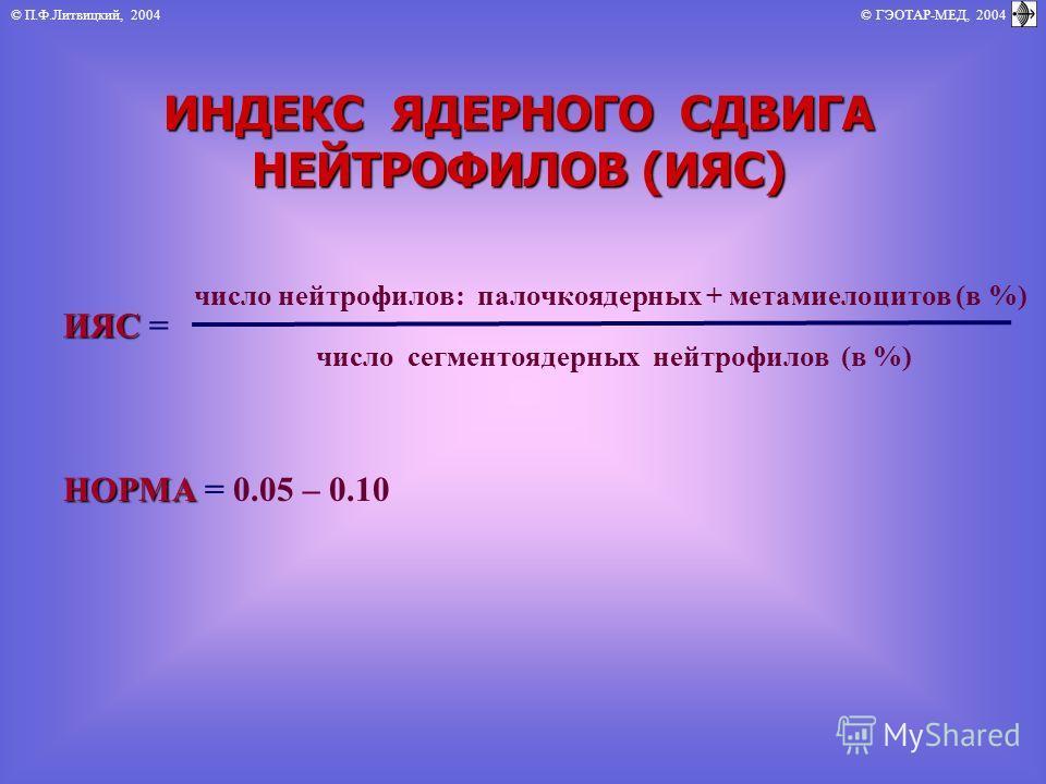 © П.Ф.Литвицкий, 2004 © ГЭОТАР-МЕД, 2004 ИНДЕКС ЯДЕРНОГО СДВИГА НЕЙТРОФИЛОВ (ИЯС) ИЯС ИЯС = число нейтрофилов: палочкоядерных + метамиелоцитов (в %) число сегментоядерных нейтрофилов (в %) НОРМА НОРМА = 0.05 – 0.10