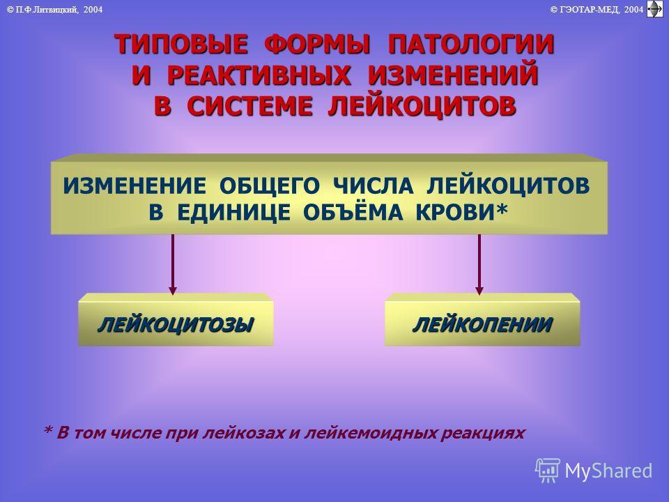 © П.Ф.Литвицкий, 2004 © ГЭОТАР-МЕД, 2004 ТИПОВЫЕ ФОРМЫ ПАТОЛОГИИ И РЕАКТИВНЫХ ИЗМЕНЕНИЙ В СИСТЕМЕ ЛЕЙКОЦИТОВ ИЗМЕНЕНИЕ ОБЩЕГО ЧИСЛА ЛЕЙКОЦИТОВ В ЕДИНИЦЕ ОБЪЁМА КРОВИ* ЛЕЙКОЦИТОЗЫЛЕЙКОПЕНИИ * В том числе при лейкозах и лейкемоидных реакциях