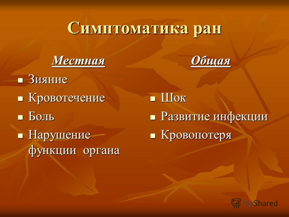 Симптоматика ран Местная Зияние Зияние Кровотечение Кровотечение Боль Боль Нарушение функции органа Нарушение функции органаОбщая Шок Шок Развитие инфекции Развитие инфекции Кровопотеря Кровопотеря