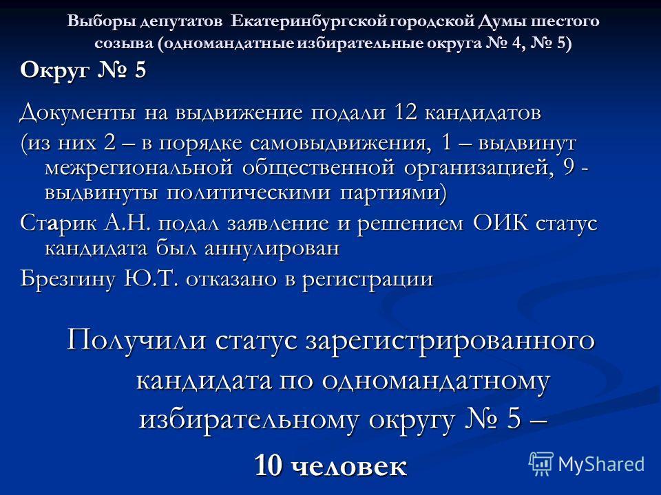 Выборы депутатов Екатеринбургской городской Думы шестого созыва (одномандатные избирательные округа 4, 5) Округ 5 Документы на выдвижение подали 12 кандидатов (из них 2 – в порядке самовыдвижения, 1 – выдвинут межрегиональной общественной организацие