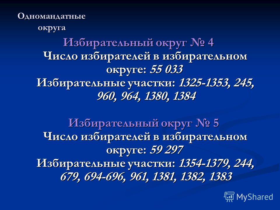 Одномандатные округа Избирательный округ 4 Число избирателей в избирательном округе: 55 033 Избирательные участки: 1325-1353, 245, 960, 964, 1380, 1384 Избирательный округ 5 Число избирателей в избирательном округе: 59 297 Избирательные участки: 1354