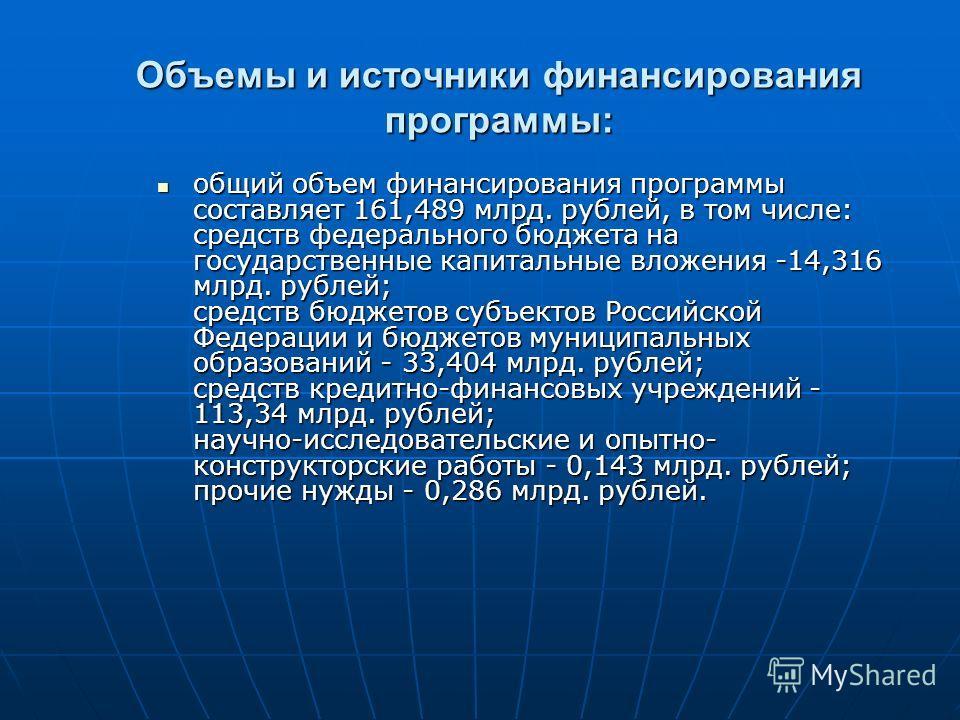 Объемы и источники финансирования программы: общий объем финансирования программы составляет 161,489 млрд. рублей, в том числе: средств федерального бюджета на государственные капитальные вложения -14,316 млрд. рублей; средств бюджетов субъектов Росс