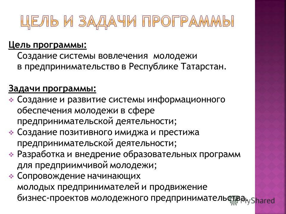Цель программы: Создание системы вовлечения молодежи в предпринимательство в Республике Татарстан. Задачи программы: Создание и развитие системы информационного обеспечения молодежи в сфере предпринимательской деятельности; Создание позитивного имидж